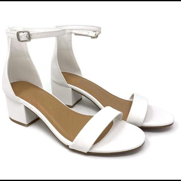 White Open Toe Ankle Strap Block Heel